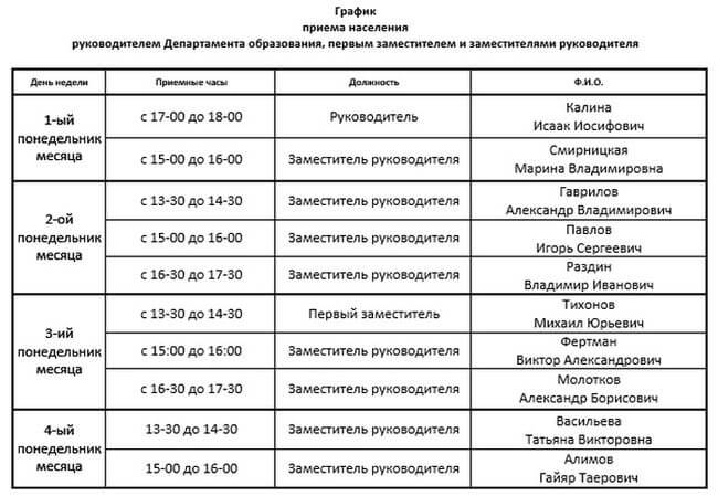 График приема Департамента образования Москвы
